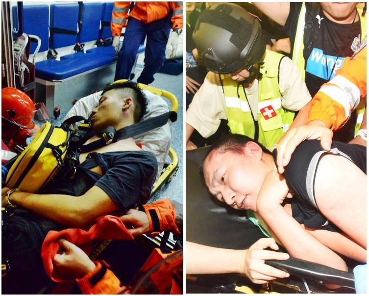 在機場被示威者打傷的兩名男子。