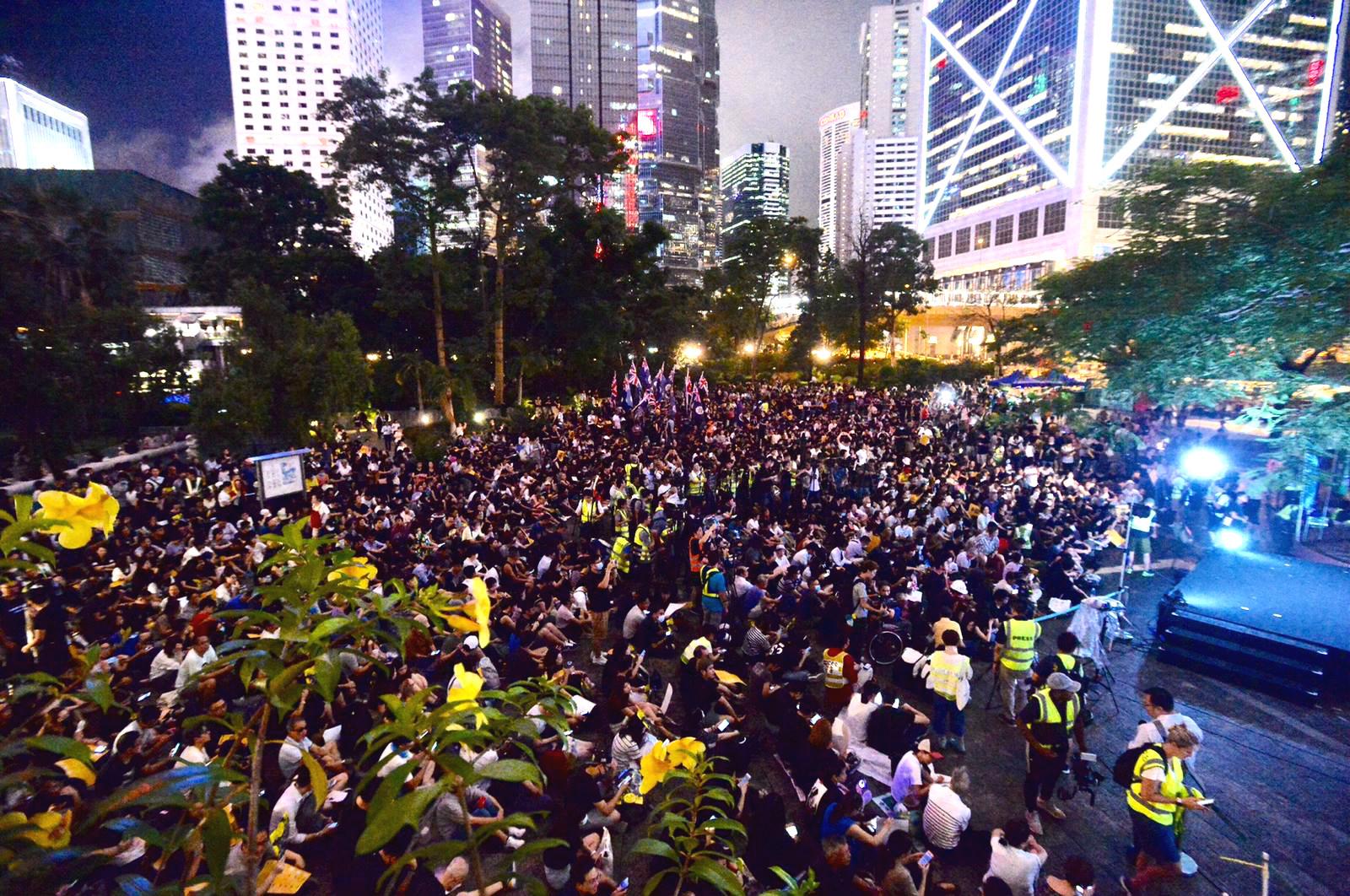 學界與網民在中環集會爭取英美聲援示威。