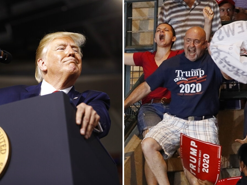 特朗普演說時誤以為一名男子是示威者,於是大聲地嘲諷對方的身材。AP