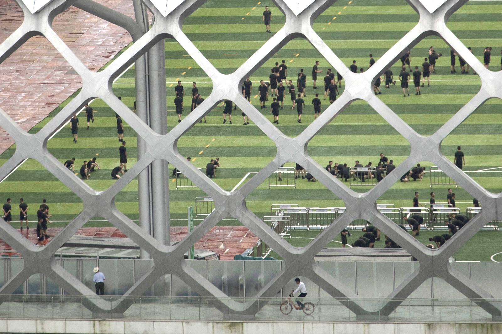 美聯社繼續拍攝到演練情況。AP圖片