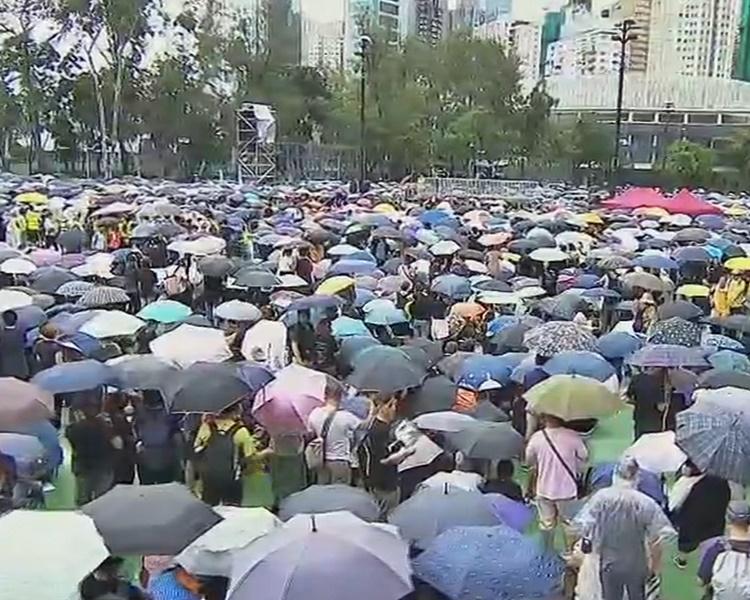 現場下起細雨,參加者大都撐起雨傘。有線電視截圖