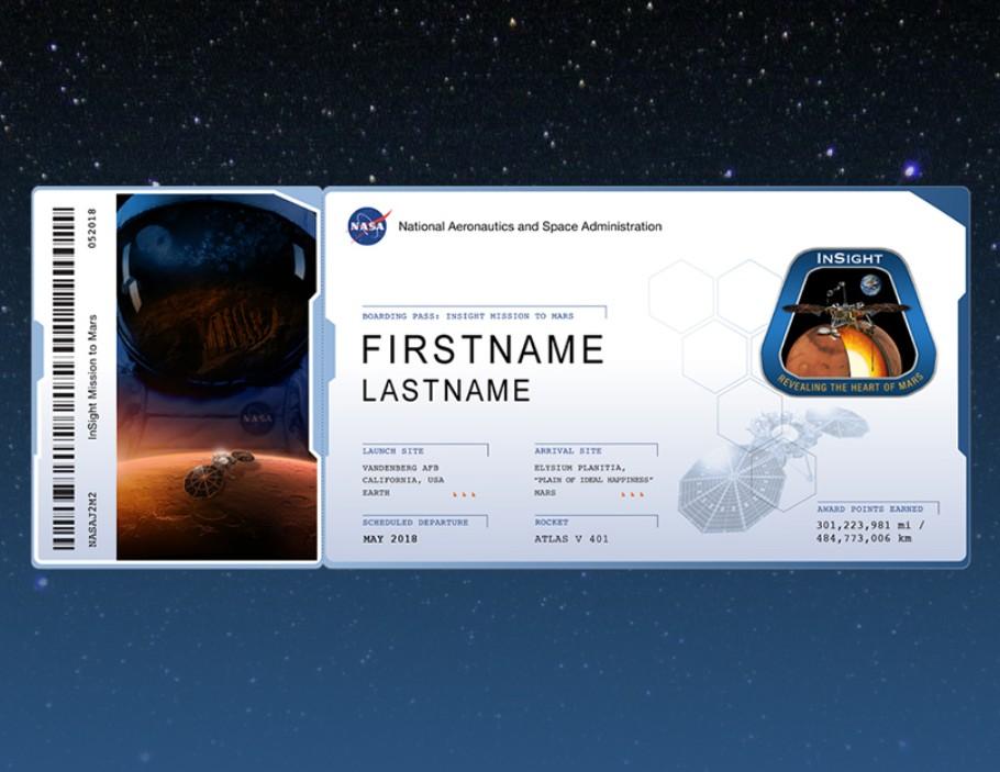 參加者可在網站上提交名字、國籍後將得到一張電子「登機證」。NASA