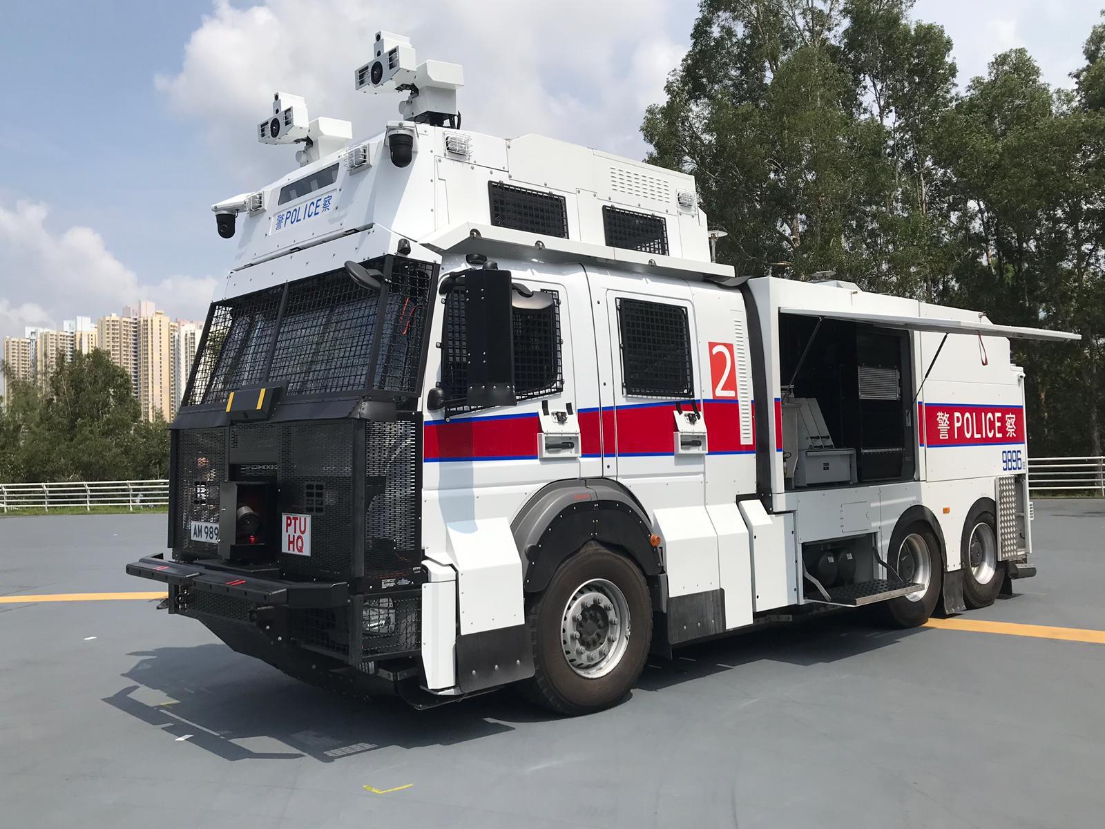 警方斥資1660萬元購買的3輛「水炮車」。
