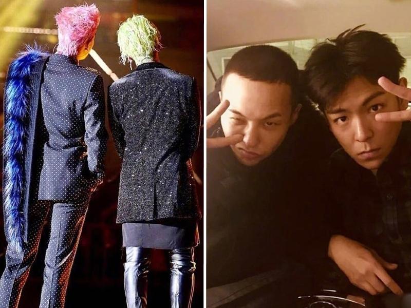 T.O.P凌晨時分貼出一張與隊友G-DRAGON的背面合照,疑似是祝賀對方生日。 T.O.P IG/網圖
