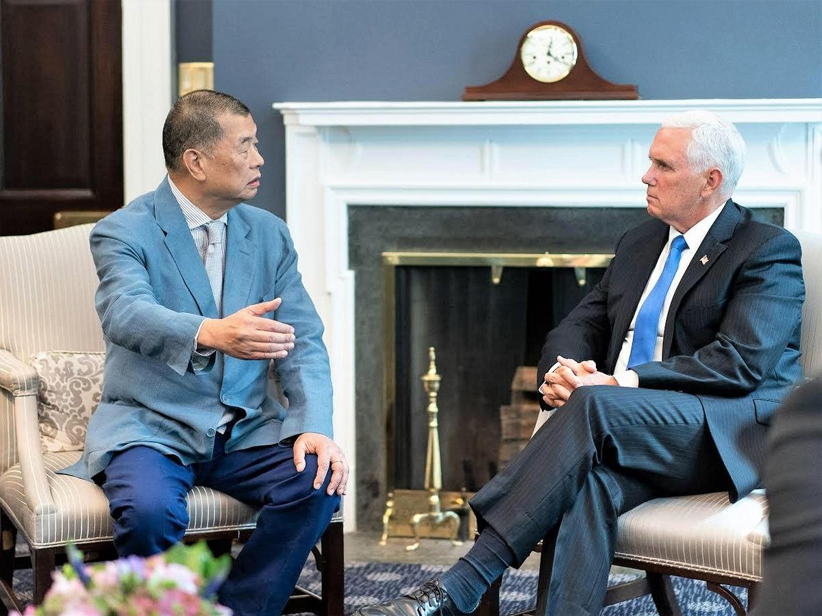黎智英今年7月與美國副總統彭斯會面。資料圖片