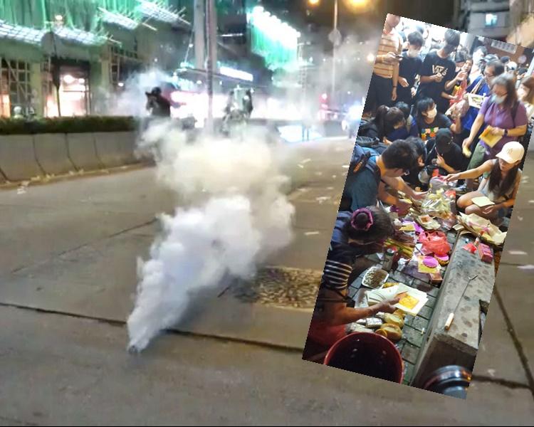 警方在深水埗發射催淚彈驅散示威者。小圖:盂蘭節當晚,有示威者在深水埗警署對開燒街衣。資料圖片