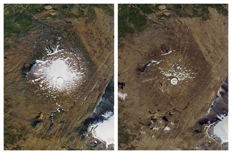 左圖為「OK冰川(Okjokull)」1986年時的面積,右圖為2019年時的面積。AP