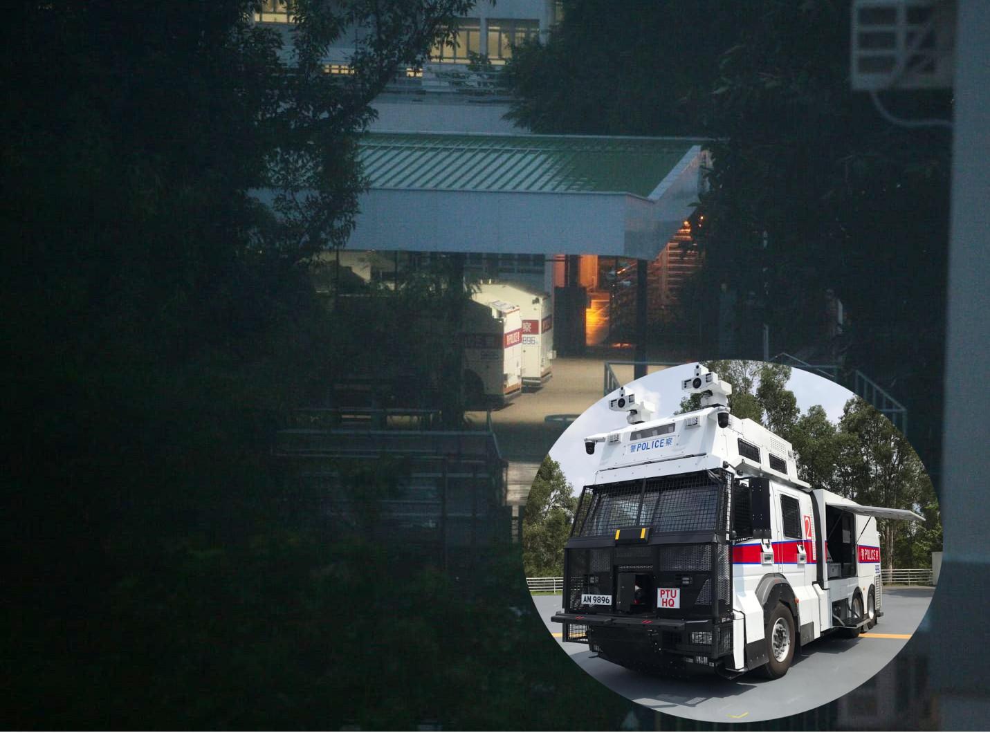 警方兩輛水炮車昨日停泊在黃竹坑警察訓練學校內候命。資料圖片