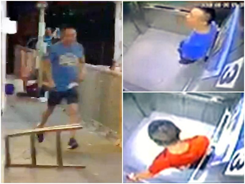男子行兇時所穿著藍色上衣,其後換上一件紅色衣服。網上影片截圖
