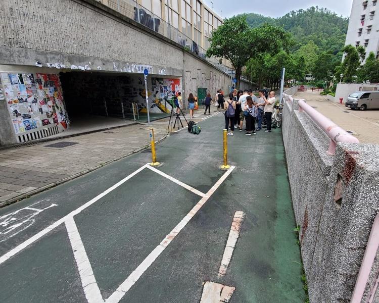 景林邨和厚德邨的行人隧道的「連儂牆」凌晨發生斬人案。歐陽偉光攝
