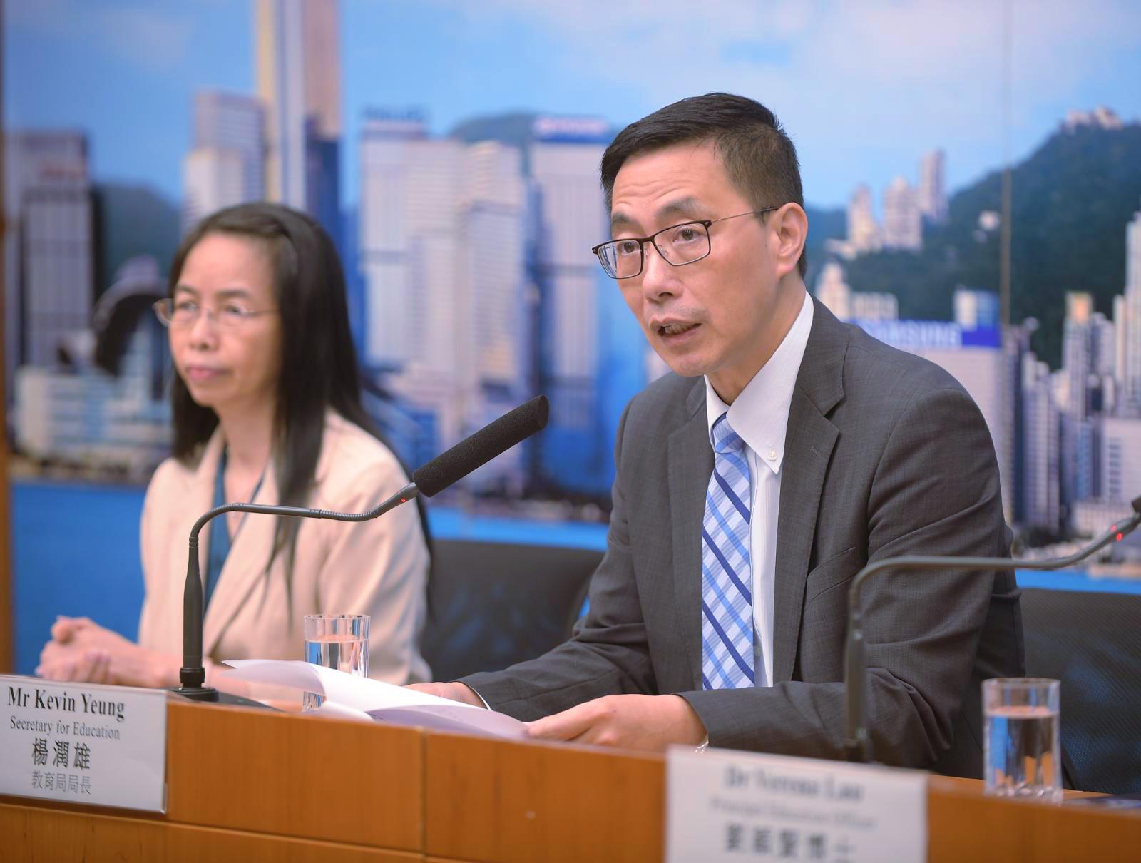 楊潤雄(右)呼籲教師不應剝削學生正常上課學習機會。
