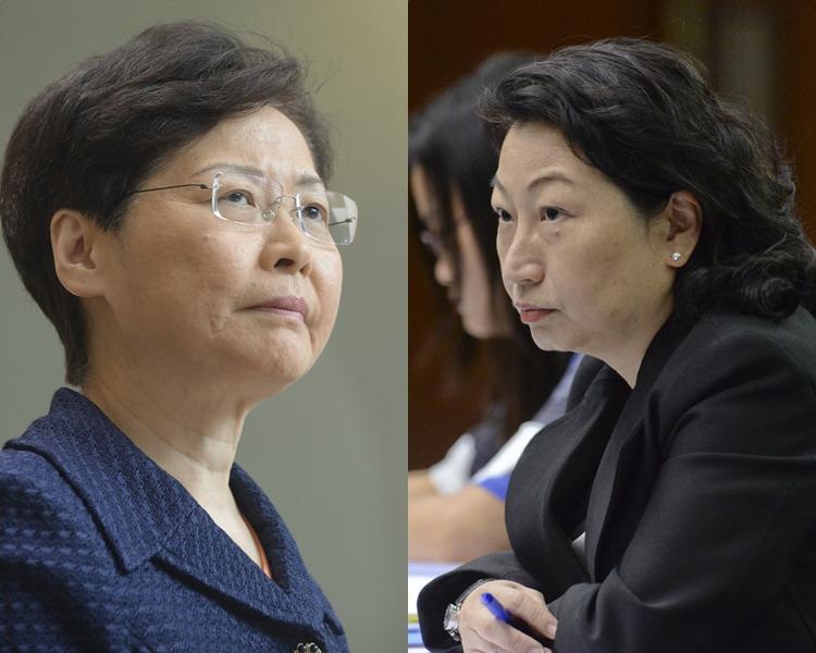特首林鄭月娥(左);律政司司長鄭若驊(右)。 資料圖片