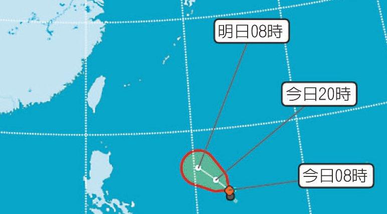 台灣中央氣象局說,風暴撲台機率高。氣象局圖片
