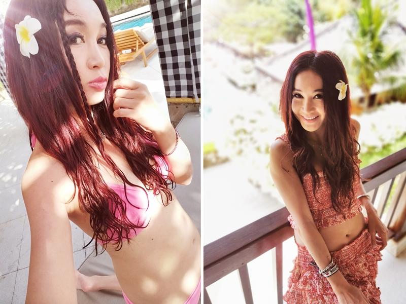 溫碧霞(Irene)與囝囝及老公飛到峇里度假。