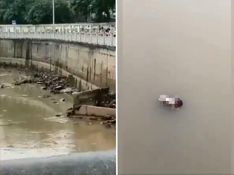 四川 一河面上發現一具嬰兒屍體。 影片截圖