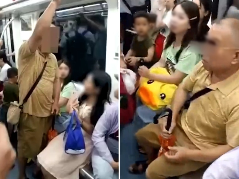 湖南一名老翁搭地鐵時,因找不到座位,便強迫女子將讓座給自己。影片截圖