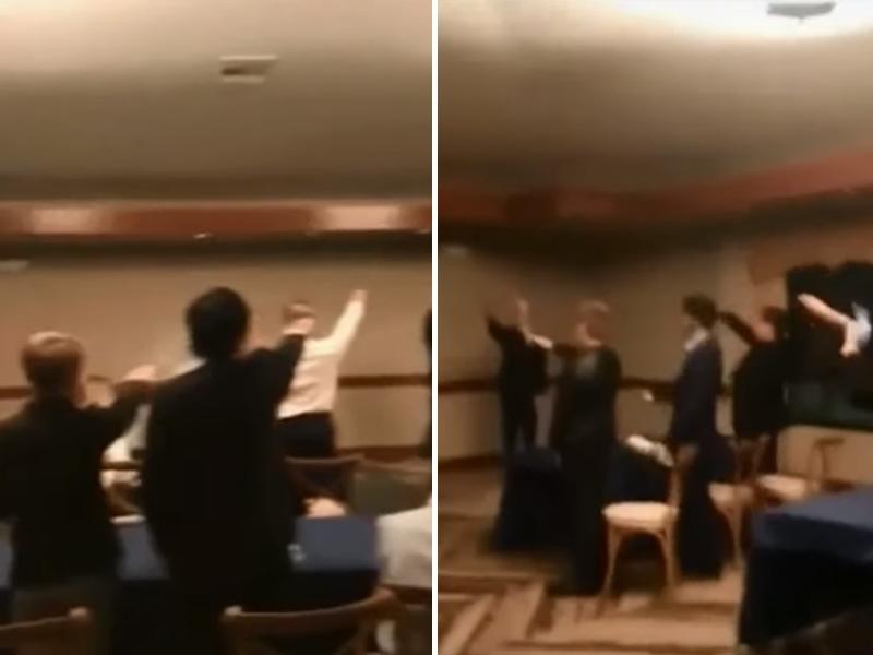 加州一批學生做出疑似納粹敬禮的動作,並高唱納粹進行曲。 網圖