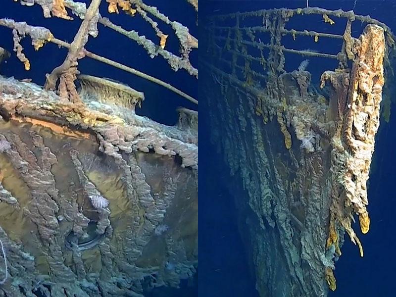 探險隊五度潛到海底3800米調查,捕捉到沉沒逾百年鐵達尼號的最新情況。AP