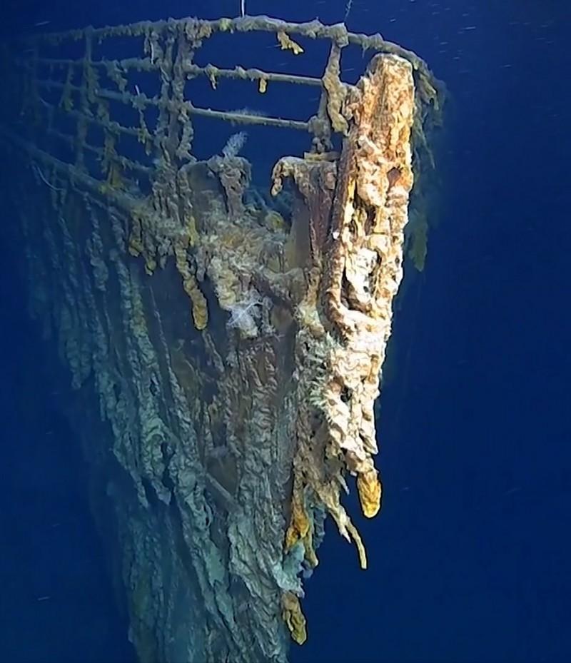 受細菌腐蝕中的鐵達尼號。AP
