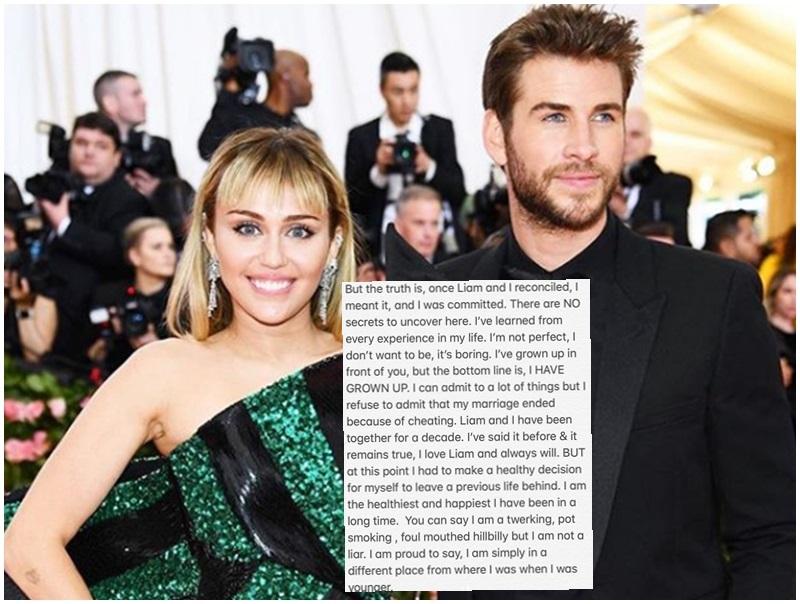 被指婚姻失敗因出軌,Miley發文否認。Miley IG
