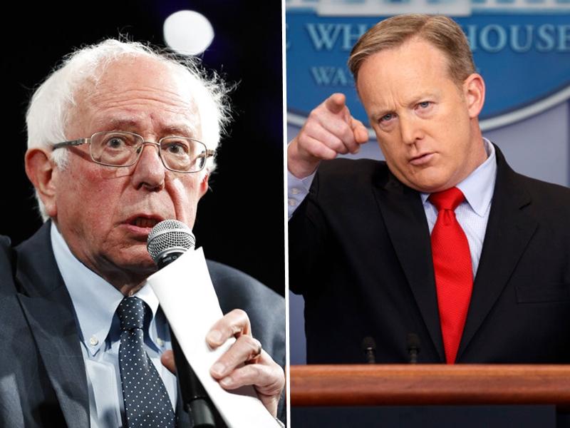 美國白宮前發言人桑德斯(左)和斯派塞告別華府後,不約而同轉戰電視圈。 AP