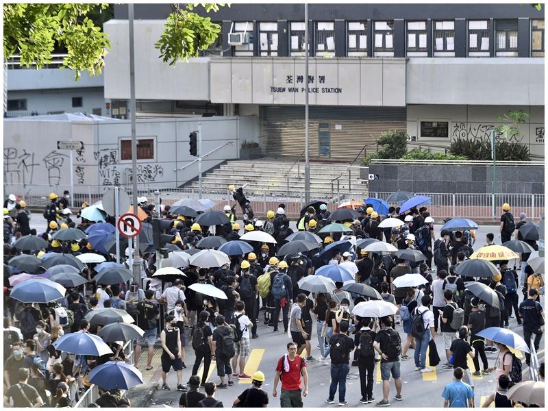 警方為防止暴力事件重演,反對「荃青葵」遊行。資料圖片