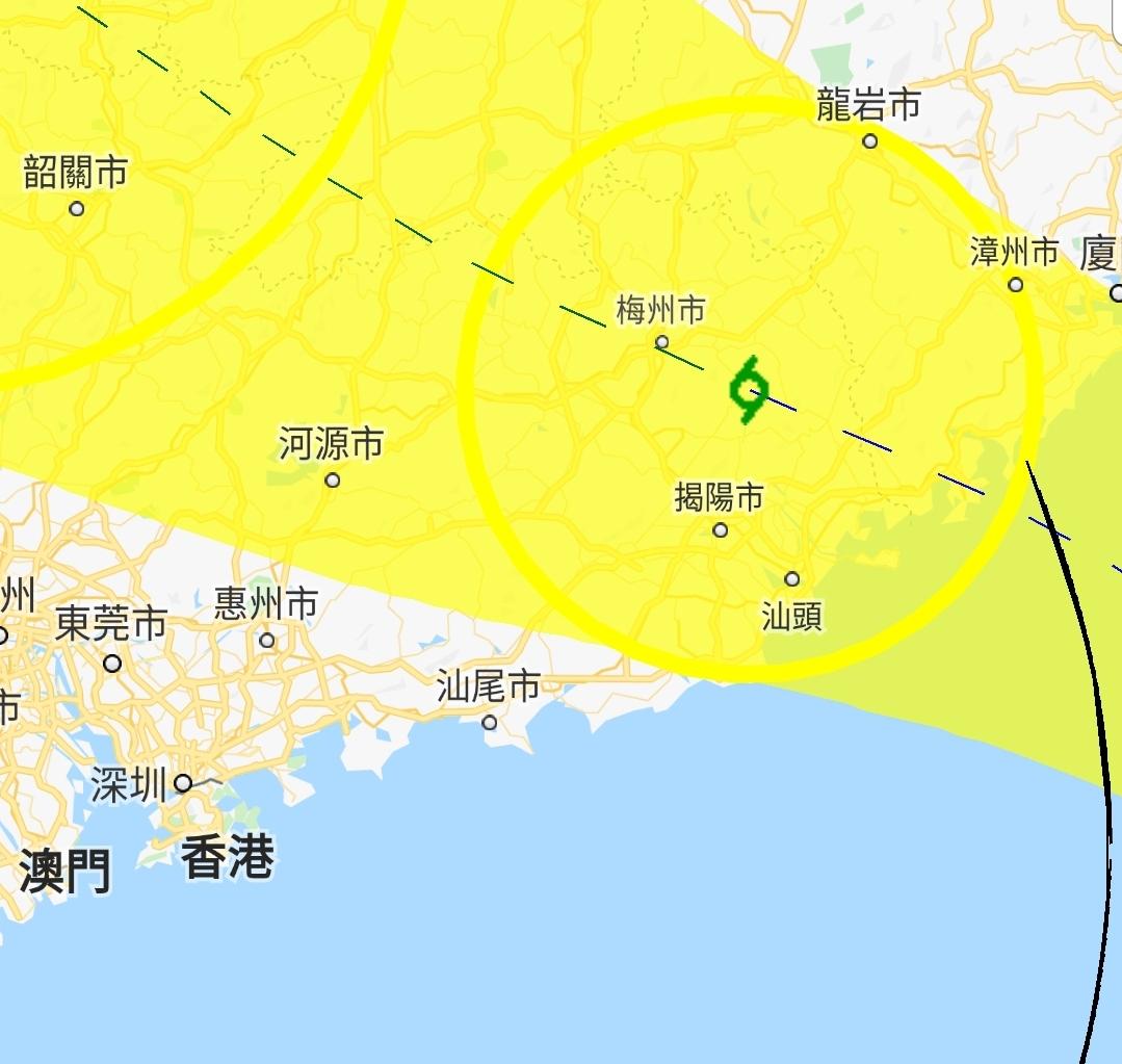 根據路徑圖,「白鹿」預料明日清晨登陸廣東潮州至福建漳州市之間登陸。天文台截圖