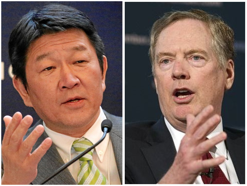 茂木敏充(左)和萊特希澤(右)周五在華盛頓達成協議。網圖