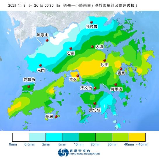 過去一小時本港雨量分佈