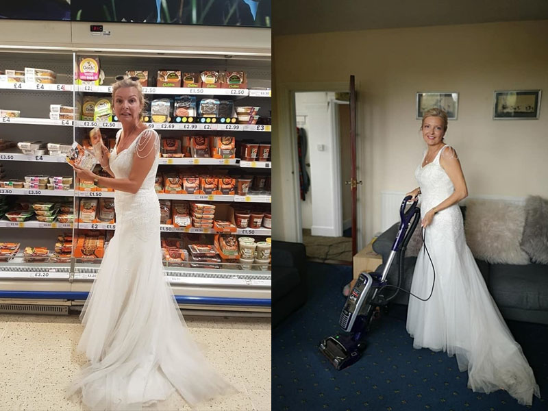 英國女子婚後繼續穿著婚紗過生活,包括上超市購物及日常打婦。(網圖)
