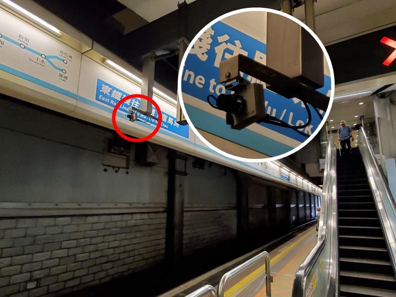 紅磡站月台有閉路電視遭破壞。