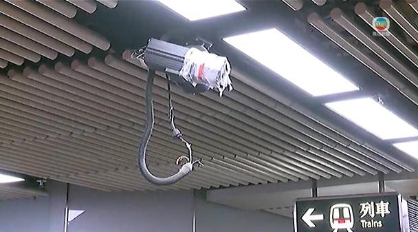 車站閉路電視被封上。無線新聞截圖