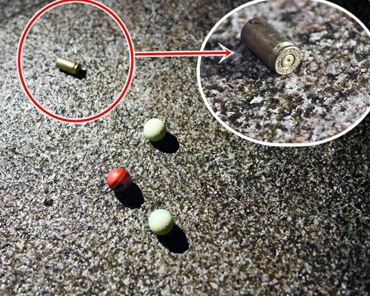 在維園發現的懷疑彈殼。