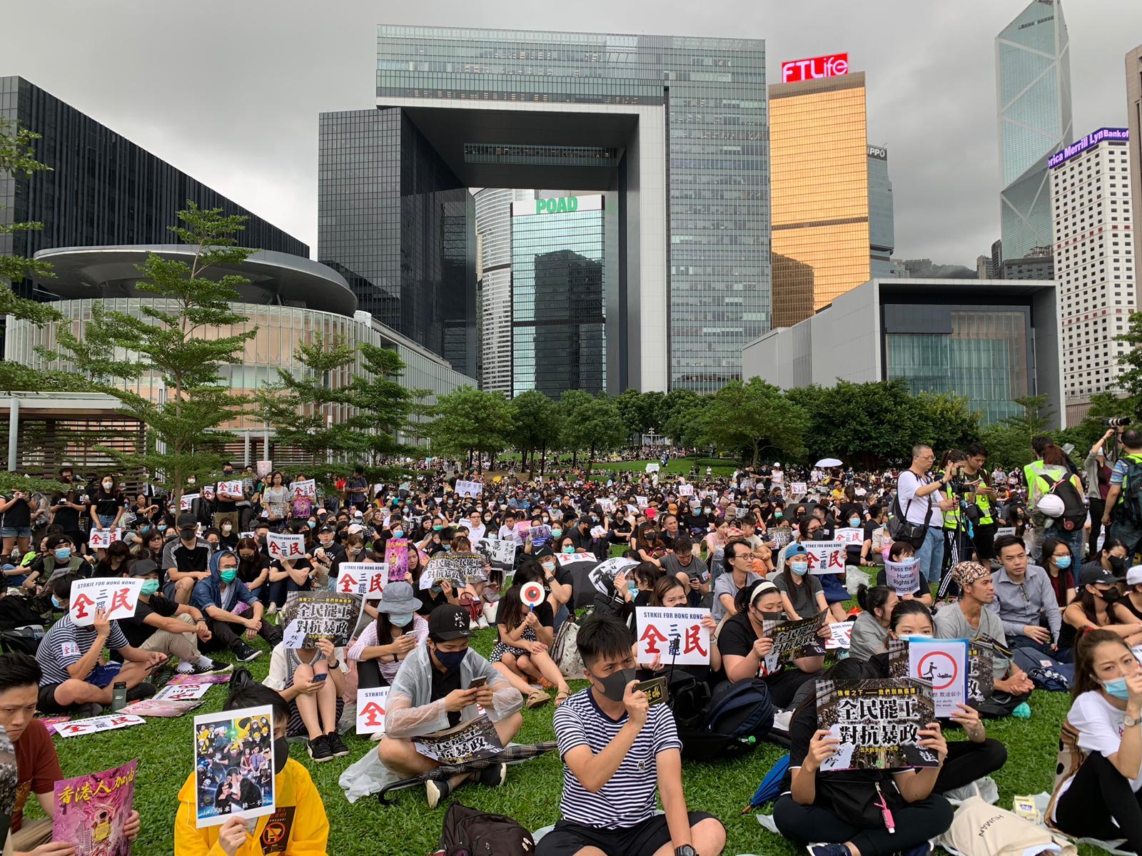 職工盟舉行的9293罷工集會,大批市民到場支持。