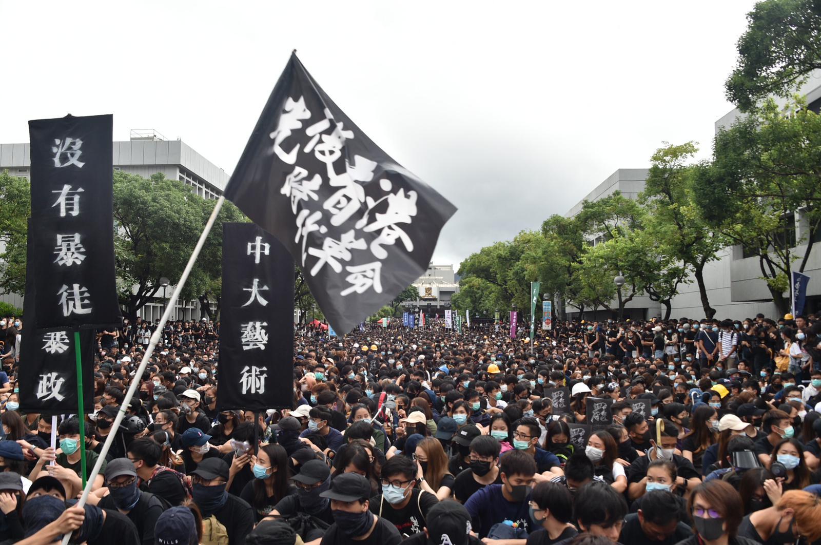 中大學生會估計約3萬人出席百萬大道集會。