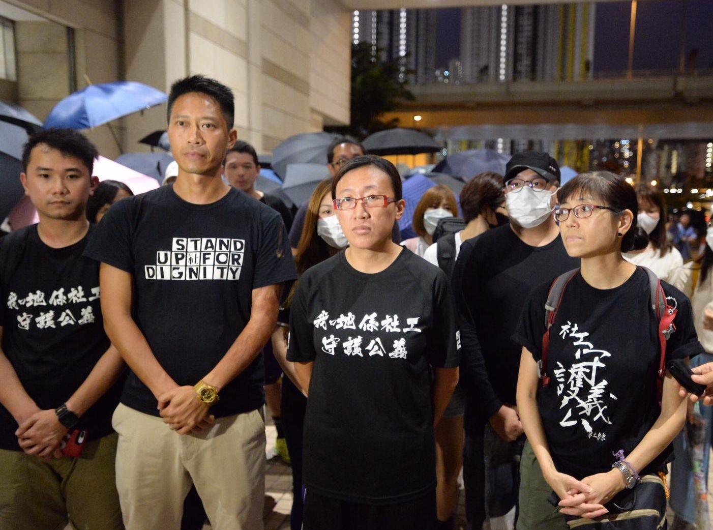 社聯表示,對於社工陳虹秀(中)被控暴動罪表示強烈憤怒。