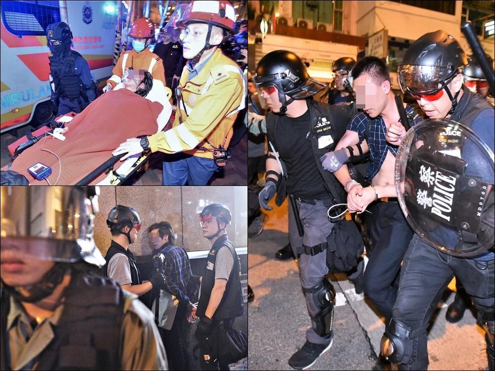 警方在旺角警署外拘捕多人,有示威者受傷送院。