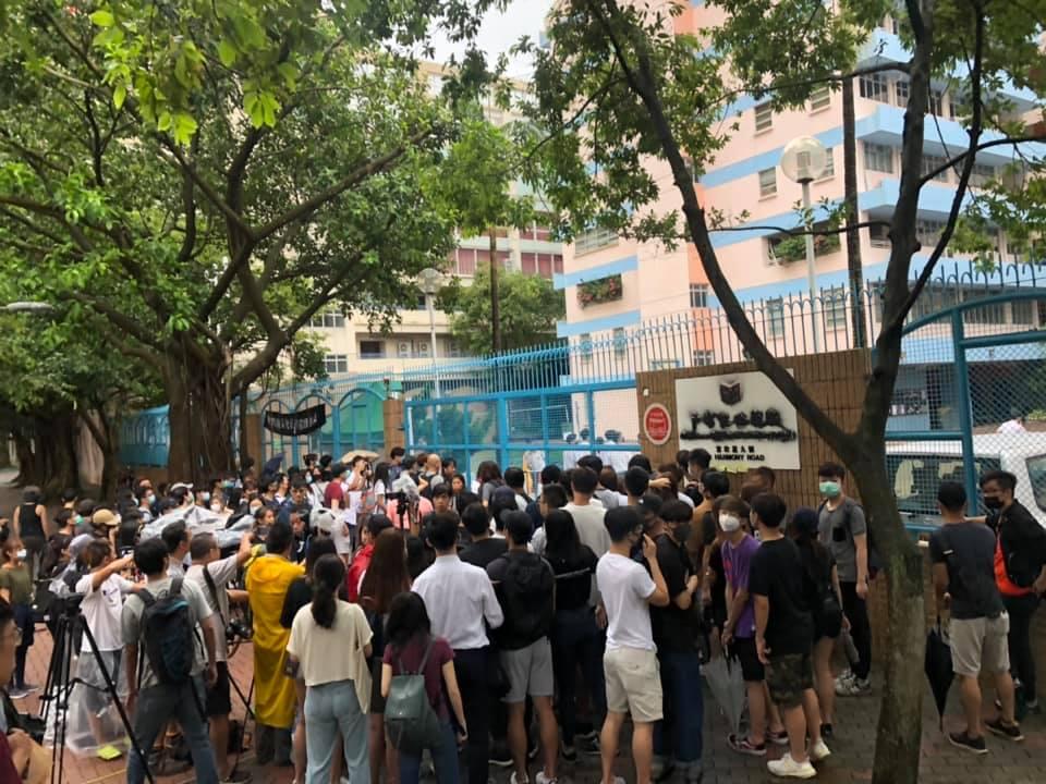 小西灣的中華基金中學有學生發起罷課。 東區社區幹事蔡志強FB圖