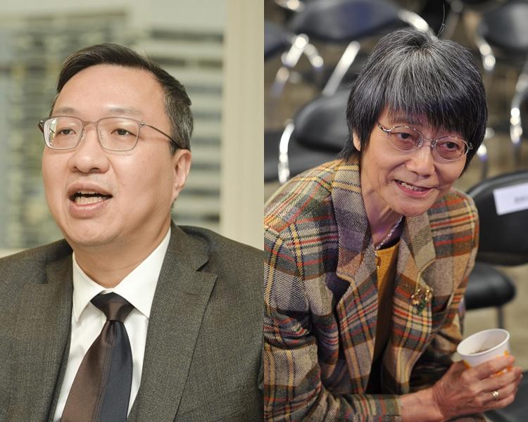 大律師公會前主席林定國(左);曾任林鄭競選辦資深顧問的前高官余黎青萍(右)。 資料圖片