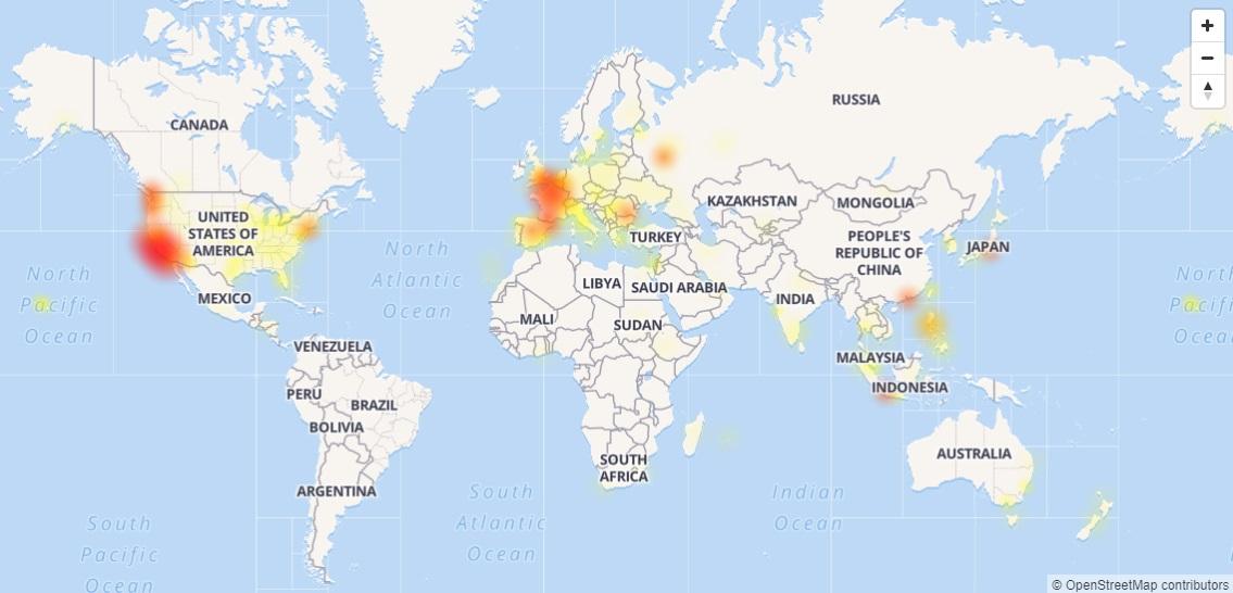 雅虎全球多地大規模故障 。網上圖片