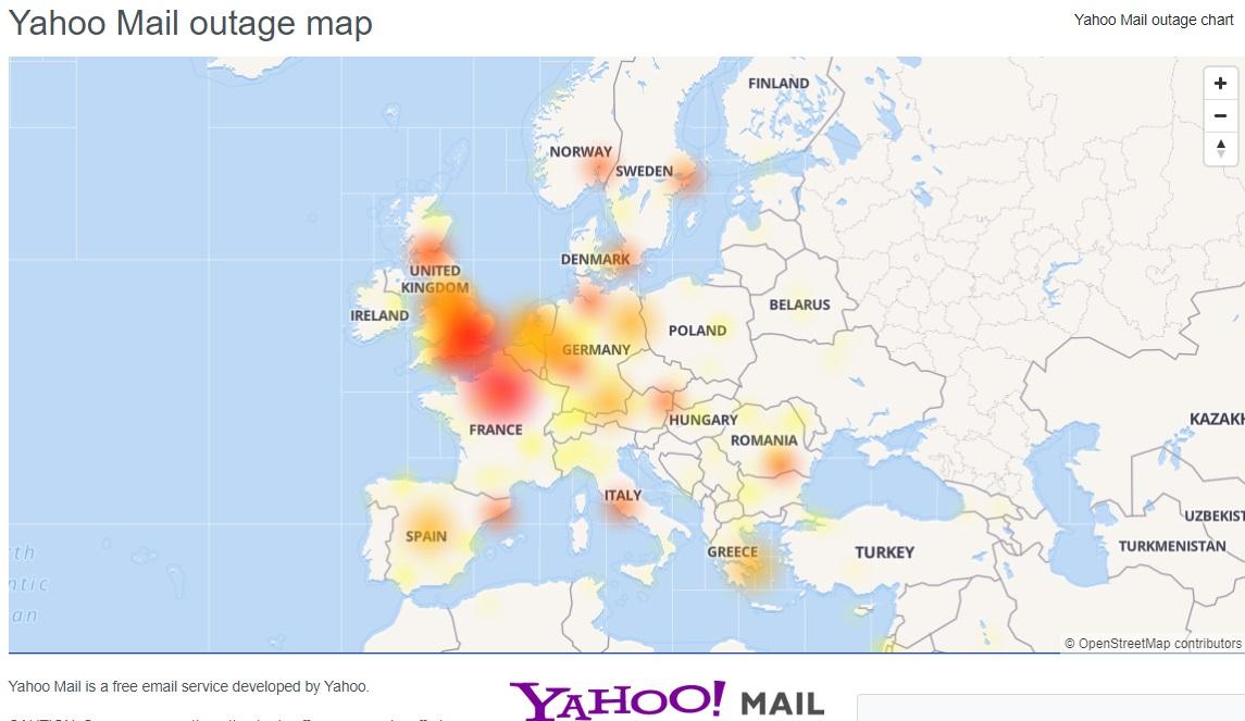 雅虎用戶無法登入電郵。網上圖片