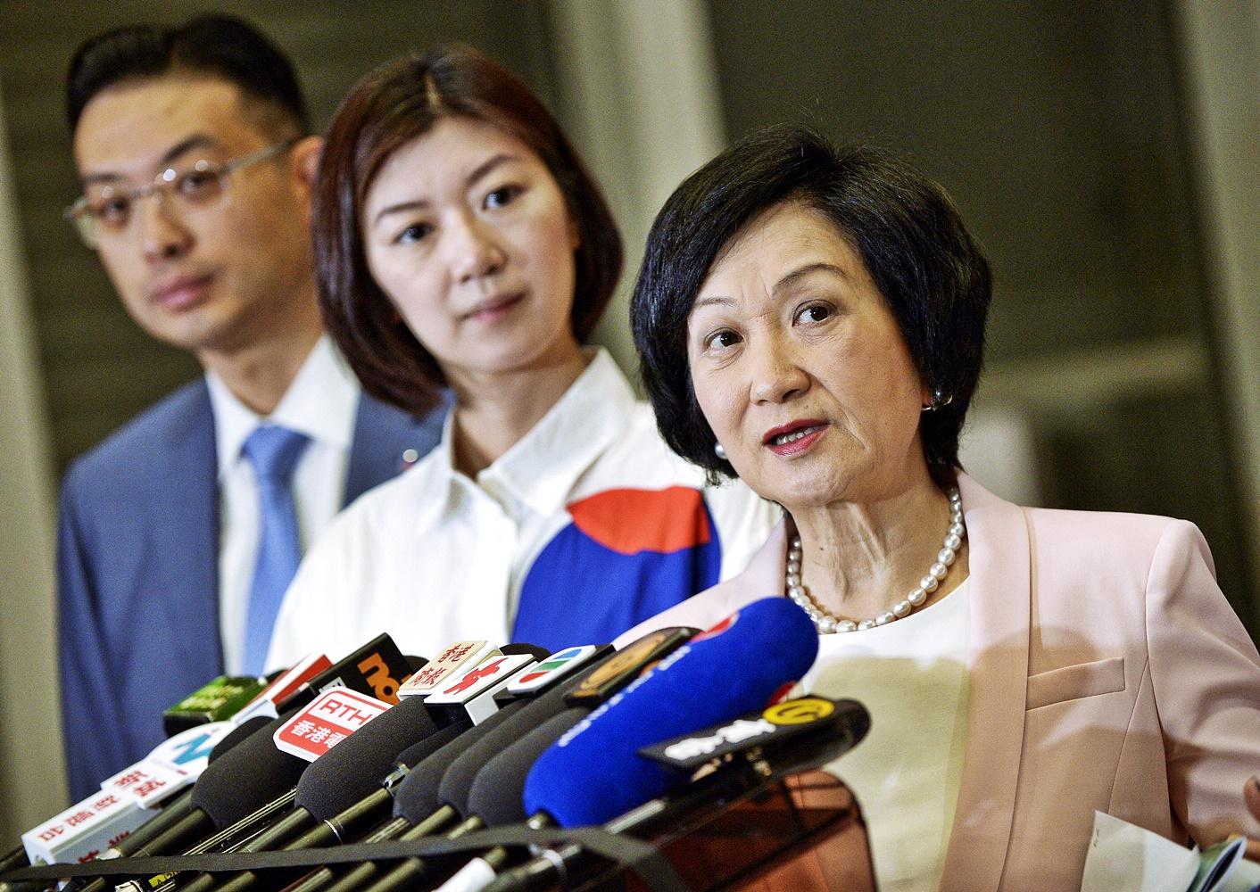 新民黨主席葉劉淑儀對林鄭提出的4大行動表示歡迎。資料圖片