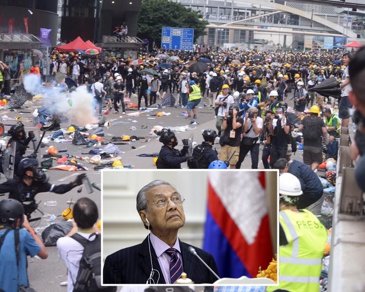 馬哈蒂爾表示北京政府絕不會容忍香港動盪升級。AP /資料圖片