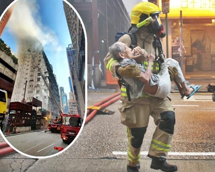 消防員救出一名男子。小圖為事發現場。