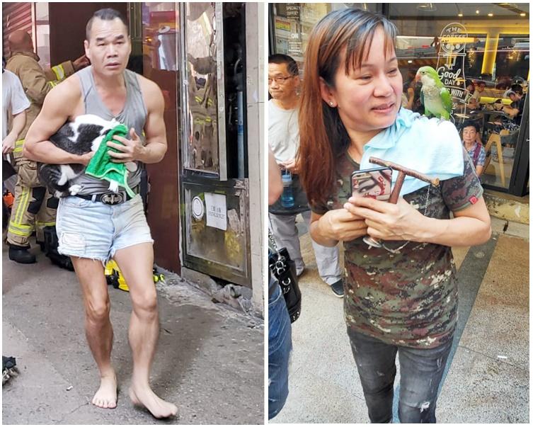 赤腳的15樓住客董先生夾著愛貓逃生。(左)陳小姐帶同4歲大鸚鵡「Nani」走火。(右)