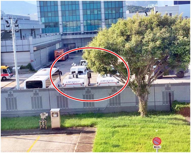 網民發現水炮車蹤影(紅圈示)。fb專頁MansonPhotos圖片