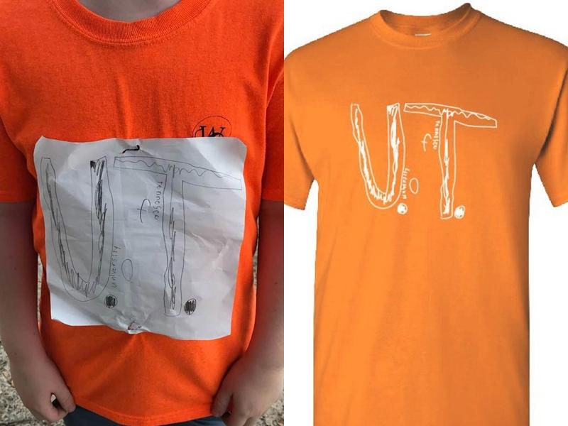 田納西大學得知後,將該名小學男生的「設計」製作成官方T恤。Laura Snyder FB圖片/網圖