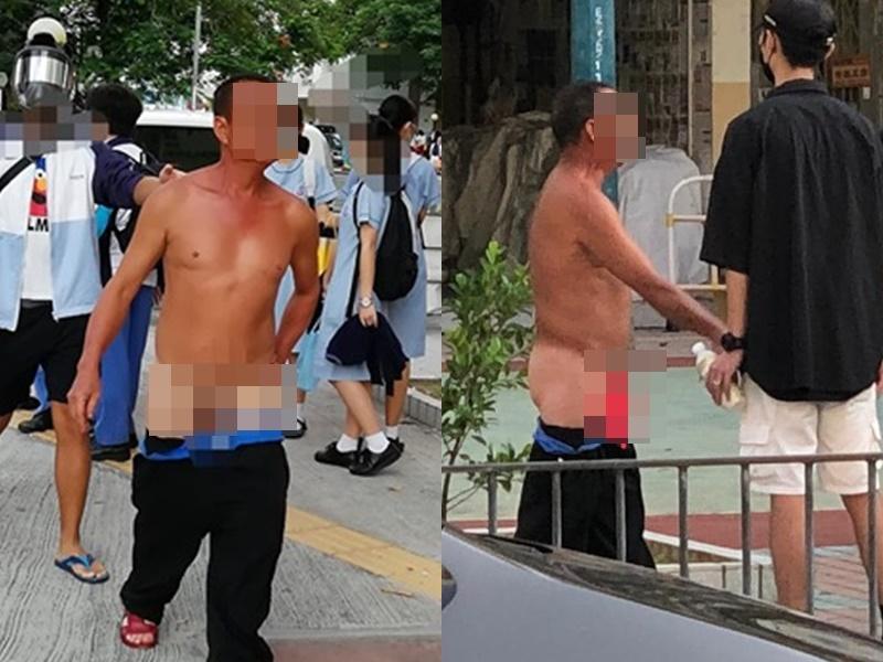 有男子疑不滿人鏈露下體抗議。天龍洸及Rachel Luk圖片