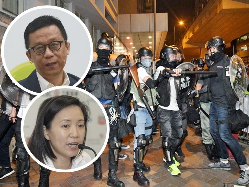 王維基袁莎妮等27人聯署要求制止警察過份武力執法。資料圖片