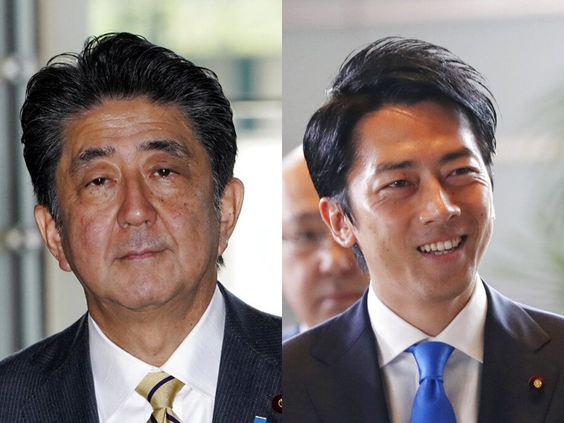 安倍晉三(左)改組內閣,小泉進次郎(右)首次入閣。AP